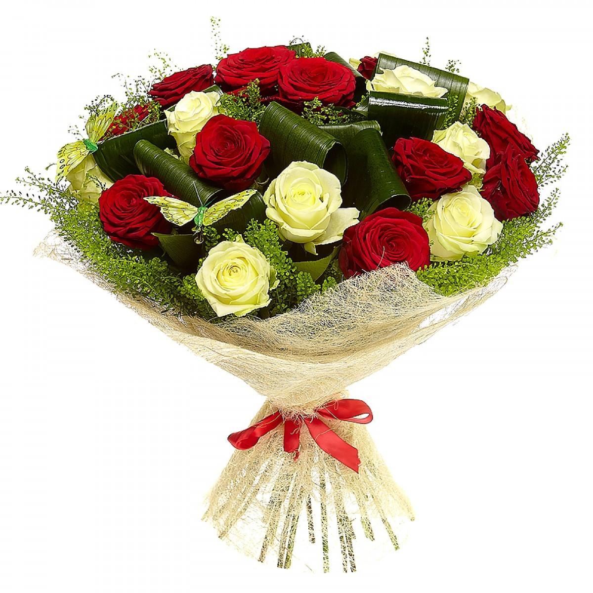 Цветы крем, букеты оригинальные из роз
