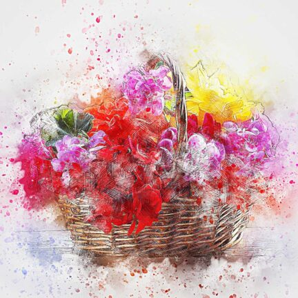 Корзины и коробки с цветами