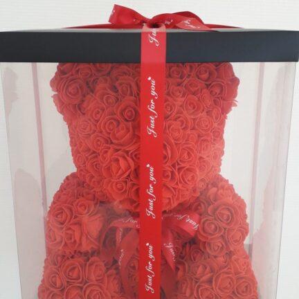 Мишки из роз в подарочной коробке 40см