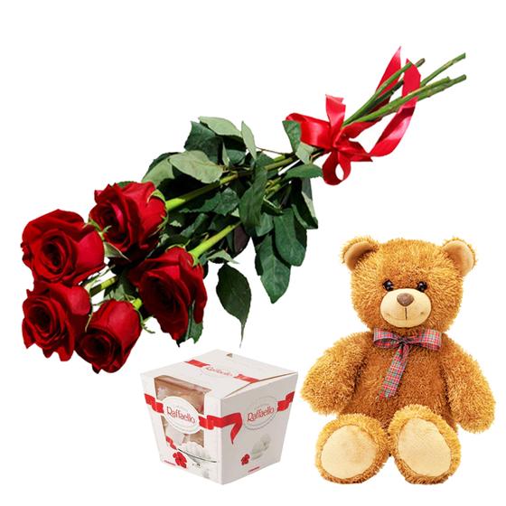 Подарочный набор с мишкой, розами и конфетами Рафаэлло